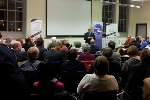 Salford City Mayor Ian Stewart Talking at Launch Event